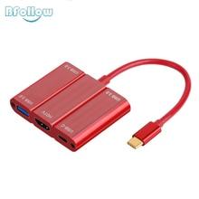 """BFOLLOW 5 ב 1 סוג C כדי HDMI USB 3.0 פ""""ד תשלום מתאם 4 K 60Hz כבל עבור Huawei mate 20 20X P20 פרו Xiaomi 9 iPad פרו 2018"""