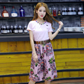 Printing Wide Leg Pants Female Two Piece Set Suit Shirts Solid Color Tops and Pants Twinset Clothes 2pcs Women Set Pants