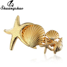Shuangshuo-accesorios para el cabello de concha para mujer, gran oferta, joyería para el cabello, horquillas para el pelo de estrella de mar Natural, pinza de pelo de estrella, Tiara