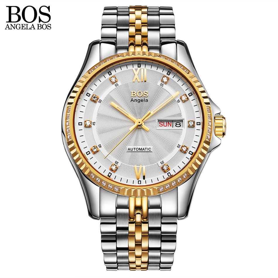 ANGELA BOS Safir Luxury Watch Automatisk Mekanisk Ljuskalender Datum - Herrklockor