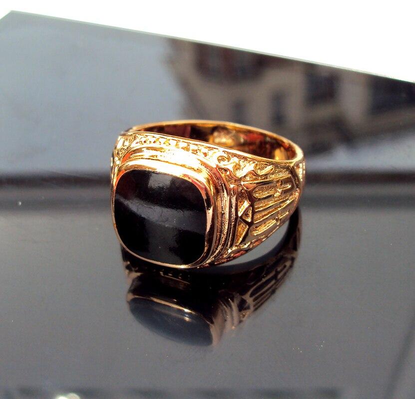 NEW Gold Stamp GF Mens Women Signet Wedding Band Black