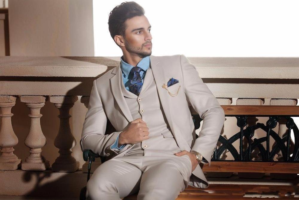 2017 New Design Ivory Cream Groom Tuxedos Italian Style Mens ...