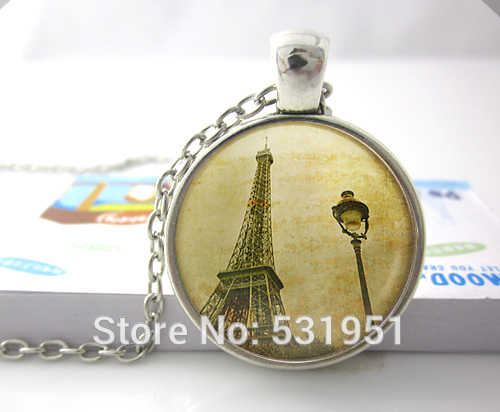 Eiffel Tower and Parisian Lampost - Handcrafted Pendant Necklace Jewelry -1920s Romance - Paris - City of Lights - Vintage Paris