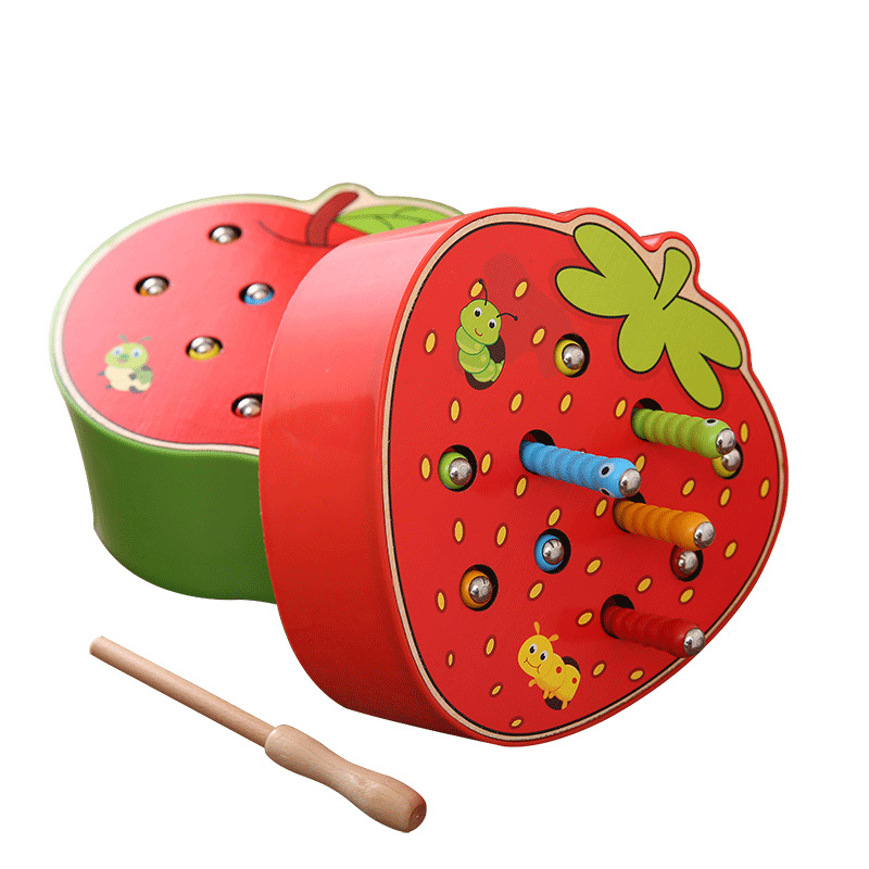 3D Wooden Puzzle Catch Worm Magnetic Play Game Cognitive Strawberry Apple Early Educational Toys Gifts For Children Kids Baby