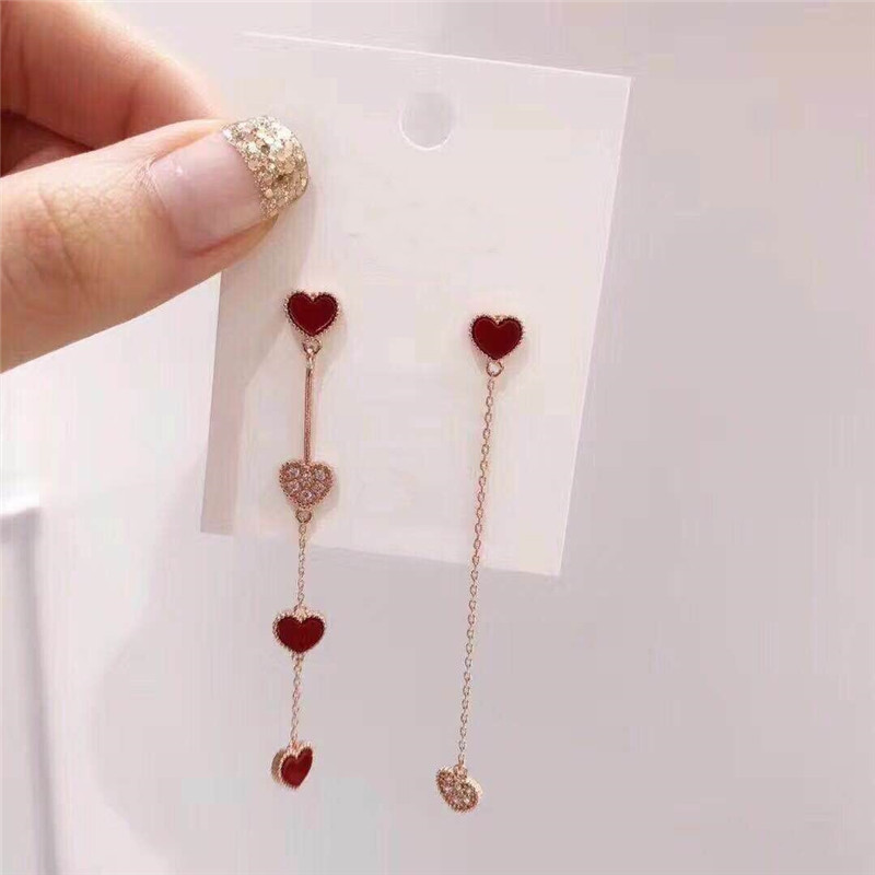 MENGJIQIAO 18 Korean New Fashion Sweet Heart Asymmetric Drop Earrings For Women Elegant Ear Line Temperament Orecchini Brincos 4