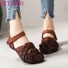 Женские босоножки из натуральной кожи GKTINOO, Оригинальные сандалии на низком каблуке, удобная обувь ручной работы с круглым носком, весна лето 2020