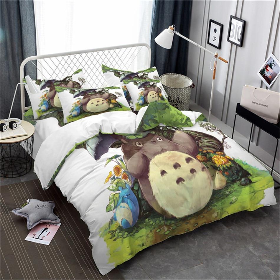 Lovely Totoro Bedding Set Kids Colorful Cartoon Duvet Cover Set Umbrella Print Quilt Cover King Queen Bedclothes Pillowcase 3Pcs
