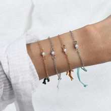 2019 Fashion Adjustable Handmade Thin Blue Line Rope Bracelet Silver Gold Chain Crystal Bracelet Set Gifts for Women Wholesale(China)