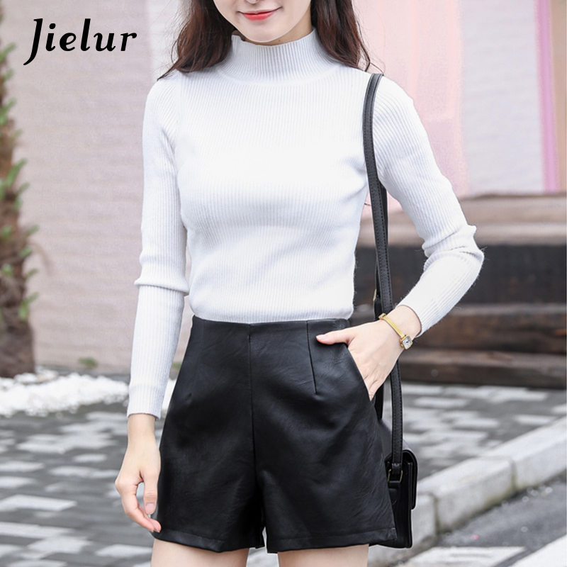 Jielur Shorts Side-Zipper Korean-Pop High-Waist Autumn Femme Women Black Spring PU Loose