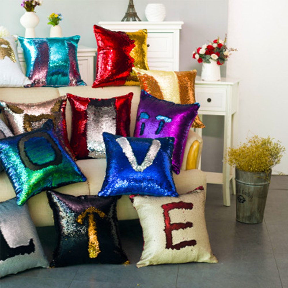 DIY Two Tone Glitter Sequins Throw Pillows Home Dekorative PillowCase Cover Reversible Sequin Magical Color Changing Pillows