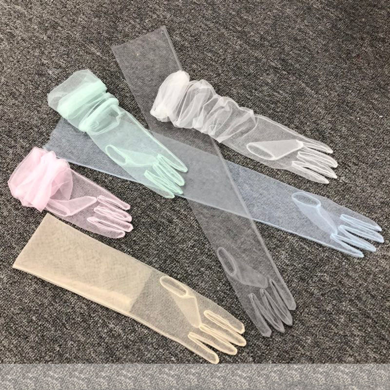 Prom Pageant Elbow Full Fingers Brides Accessories Gloves Gauze Party Voile Communion Evening Elegant Christmas Navidad