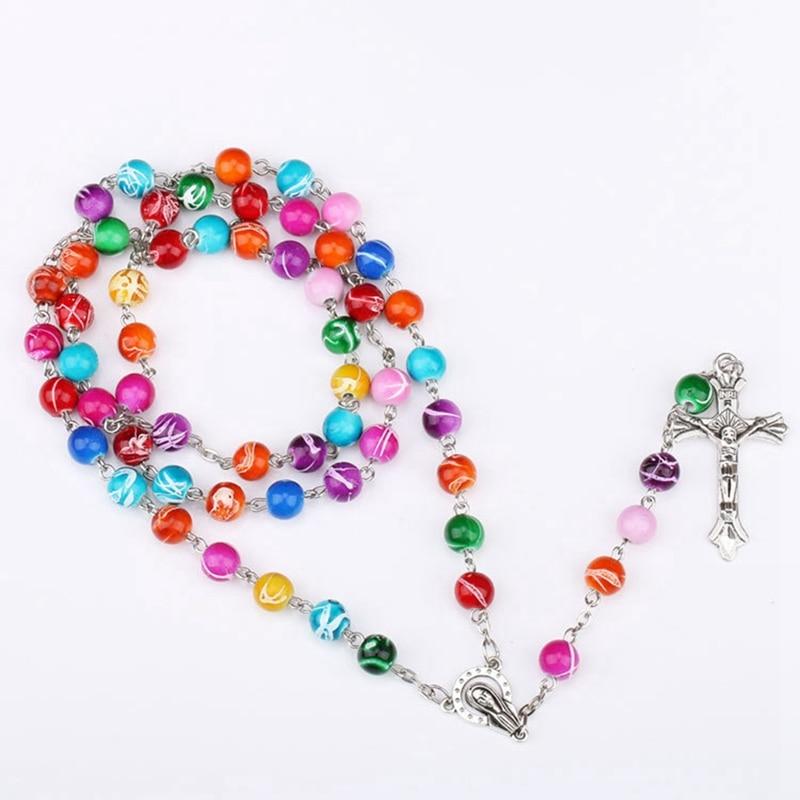 1pc Catholic Rosary Cross Pendant Necklace High Quality Colorful Acrylic Beads Religious Jesus Necklace Unisex
