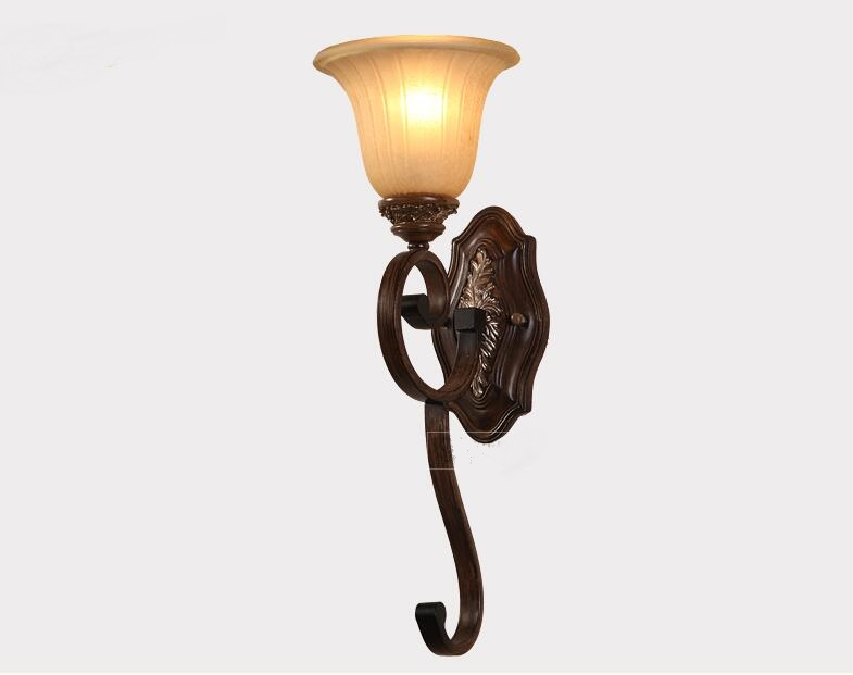 European style simple living room bedroom bedside lamp iron wall lamp retro staircase corridor lighting FG670 LU1011 european full copper wall lamp bedroom bedside lamp american living room background wall aisle corridor staircase copper lamp