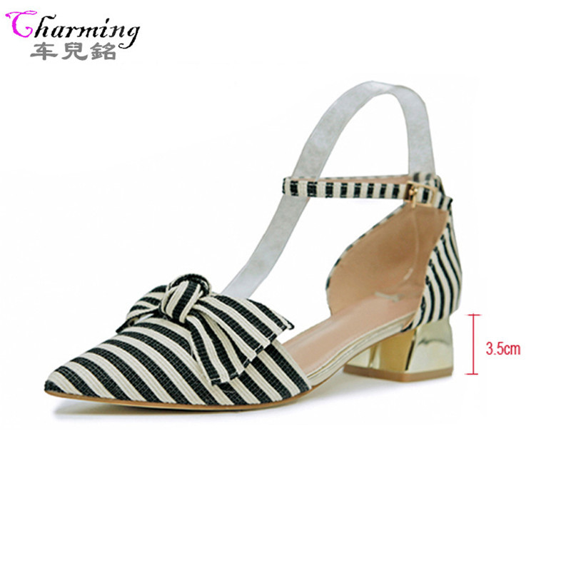 2017Fashion Woman Flats bowknot women sandals spring summer Women Shoes T-strap quality stripes comfort Flat plus size ALF574 dreamshining new fashion women colorful flat shoes women s flats womens high quality lazy shoes spring summer shoes size eu35 40