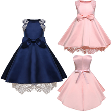цены на Pink Little Boy European and American Flower Girl Dress Bow and Lace Fluffy Dress Party Princess Dress Temperament Princess  в интернет-магазинах