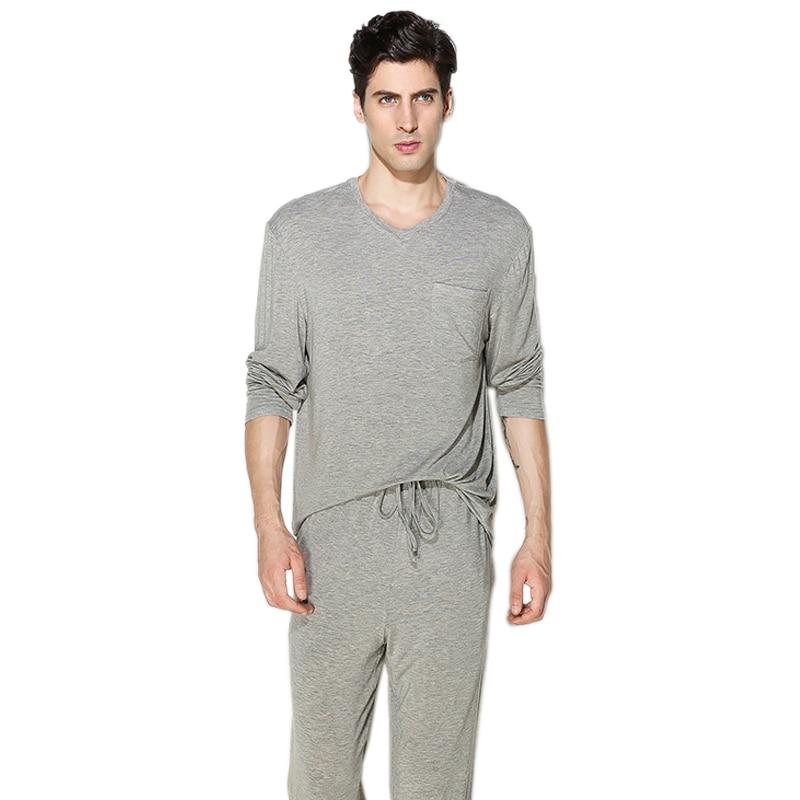 Sexy Pure Color Pajamas Sets Men Night Wear Modal Casual Long-sleeve Sleepwear Pijamas Para Hombres Men Pyjama Set