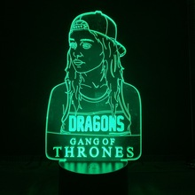 A Song of Ice and Fire Led Night Light US TV Series Daenerys Targaryen Stormborn Dragon Queen Sensor Decorative 3d Optical Lamp