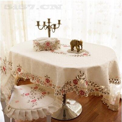 Pasayione ricamo floreale tovaglia ovale dell 39 annata copertura tavolo da pranzo di lavoro a - Tovaglia per tavolo ovale ...