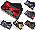 Homens Bowtie gravata e caixa de presente Set pré ajustável amarrado pescoço laço frete grátis 5 conjunto