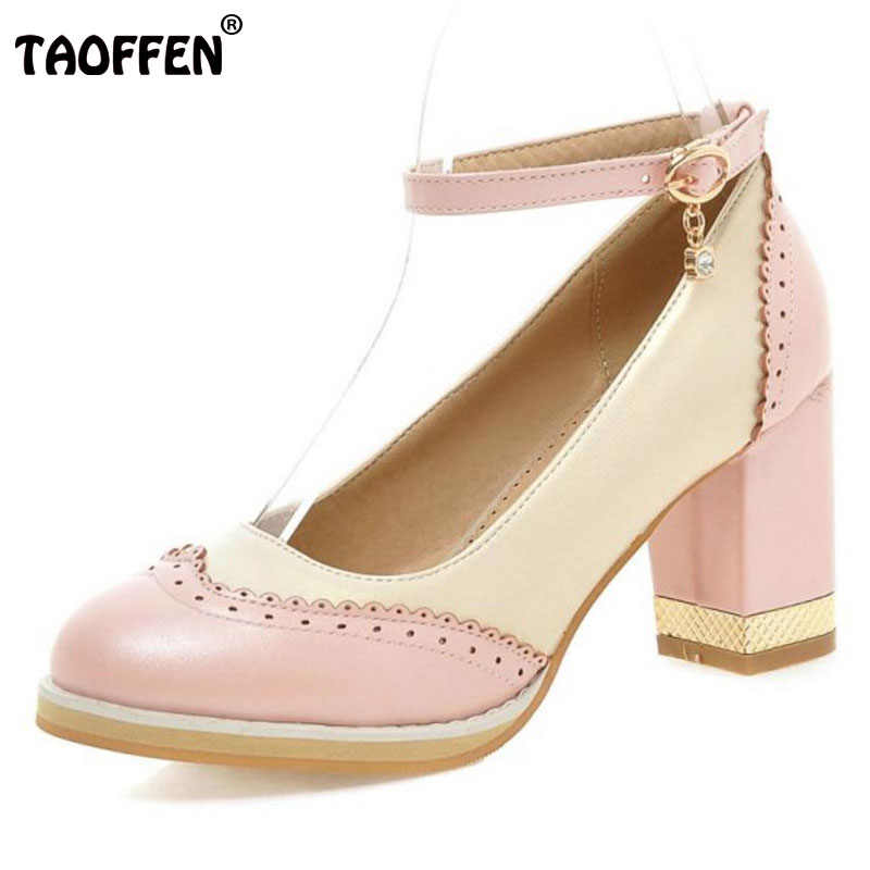 TAOFFEN Women High Heel Shoes Women Hollow Out Mixed Color Patchwork Buckle Heels Pumps Ladies Daily Party Footwear Size 31-47 fashion designer women high heel sandals mixed color strap cut out pumps heel elegant ladies weeding dress shoes real photo