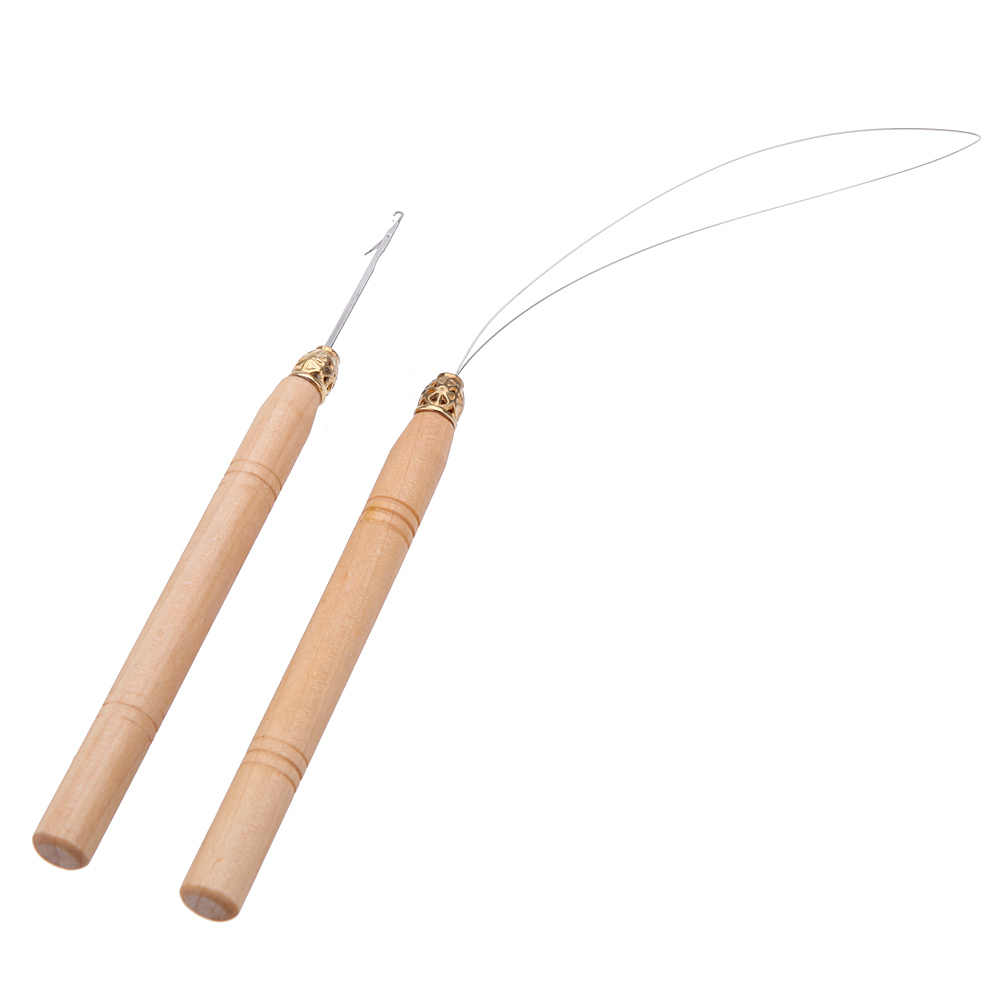 New 2Pcs Hair Extension Hook Pulling Tool Needle Threader Micro Rings Link Beads Loop Wooden Handle With Iron Wire Wholesale J11