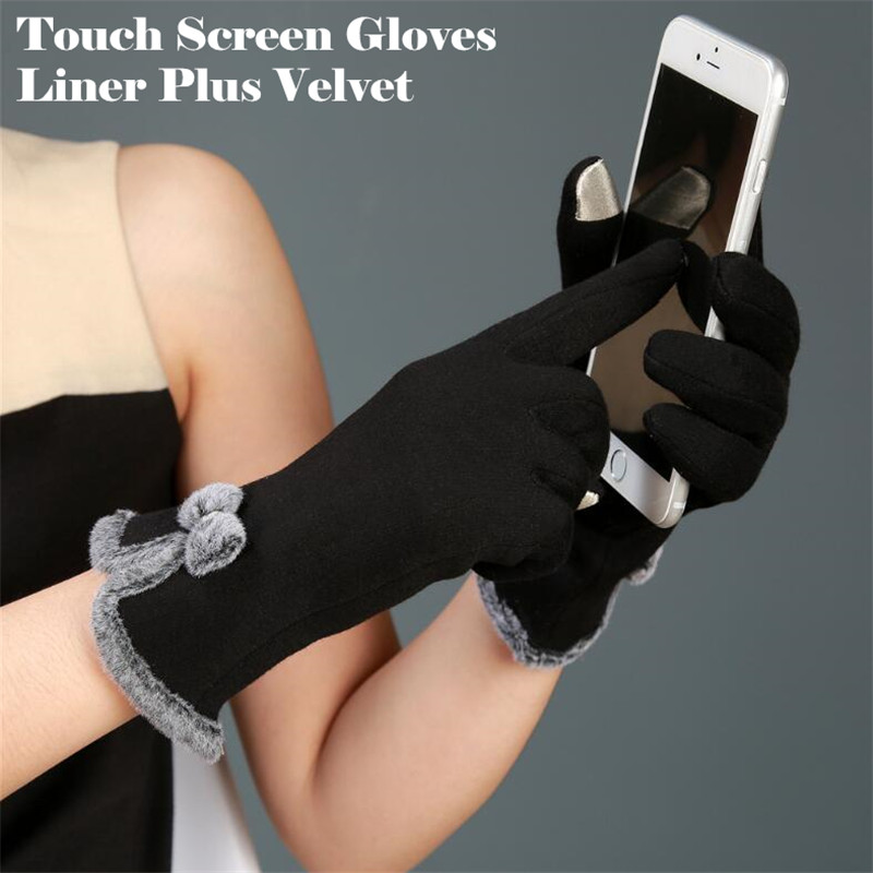 240p!Women Fashion Winter Warm  Running 2-Finger Touch Screen Gloves Cycling,Plus Velvet Bow Cotton Burr Edge Design