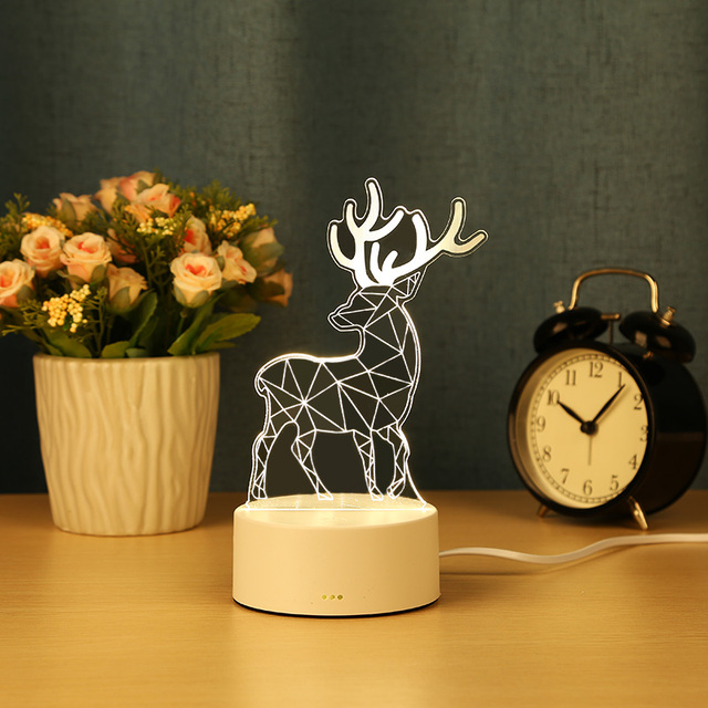 3D Night Light Bedside Table Decor USB Lamp Touch 3 Colors Cartoon Deer Head Night Lights Star Lamp Jellyfish Cute kids Gifts