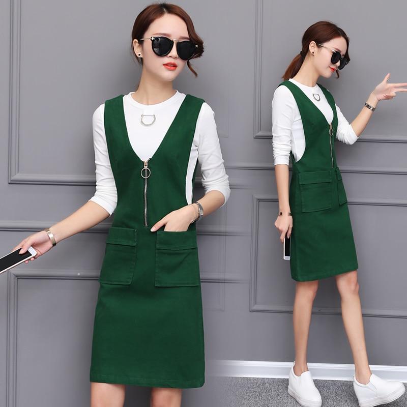 2018 New Spring Suspender Suit Two Pieces Slim Dress