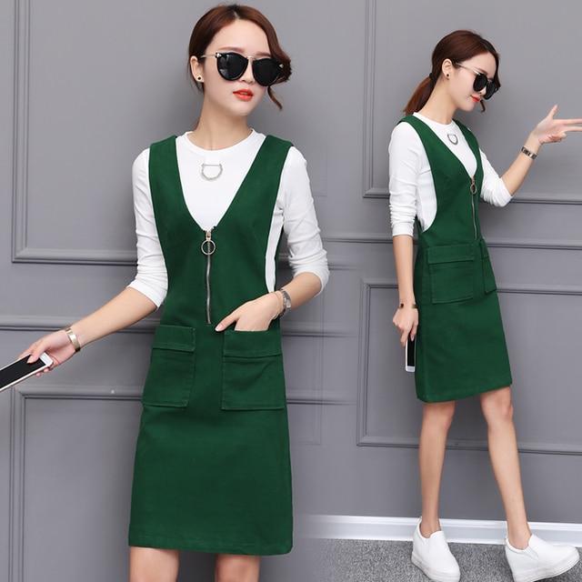 2018 New Spring Suspender Suit Two Pieces Slim Dress Female Korean