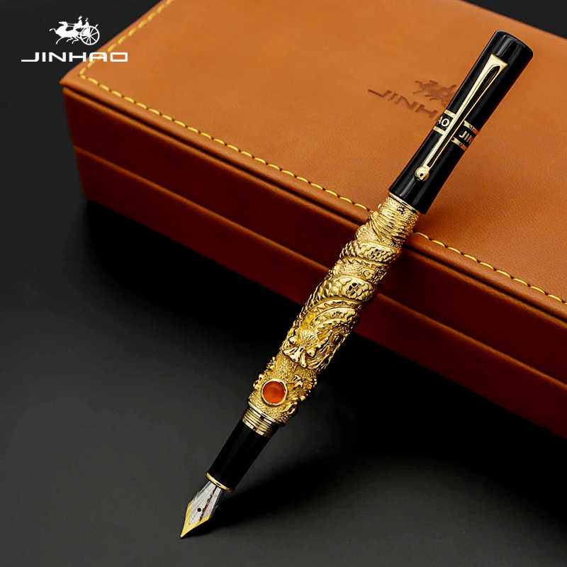 Jinhao Golden Dragon Fountain Pen Luxury 0.5MM Nib 18KGP Calligraphy Ink Pens for Writing Business Office Supplies Caneta