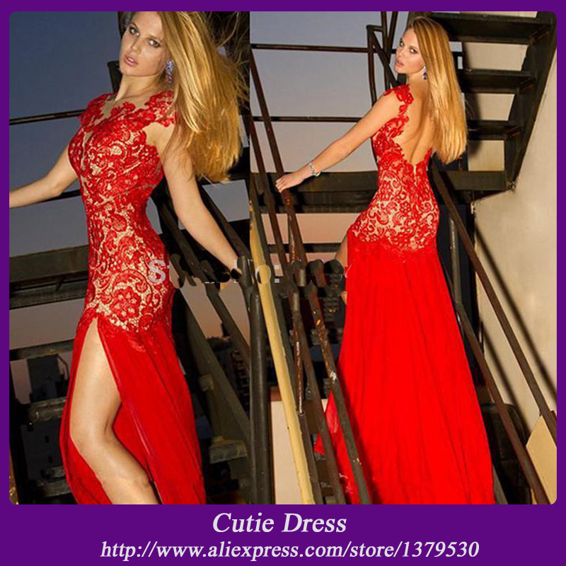 free shipping Sexy Backless red carpet   dresses   Lace   Prom     dress   2019 Chiffon Side Slit long mermaid   prom   gown custom Vestidos de