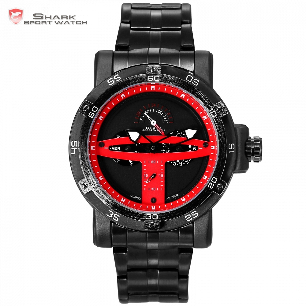 Greenland Shark Sport Watch Red Black Fashion Calendar Watch Saat Erkekler Steel Relojes Hombre Quartz Male Wristwatch /SH428 greenland shark sport watch men luxury