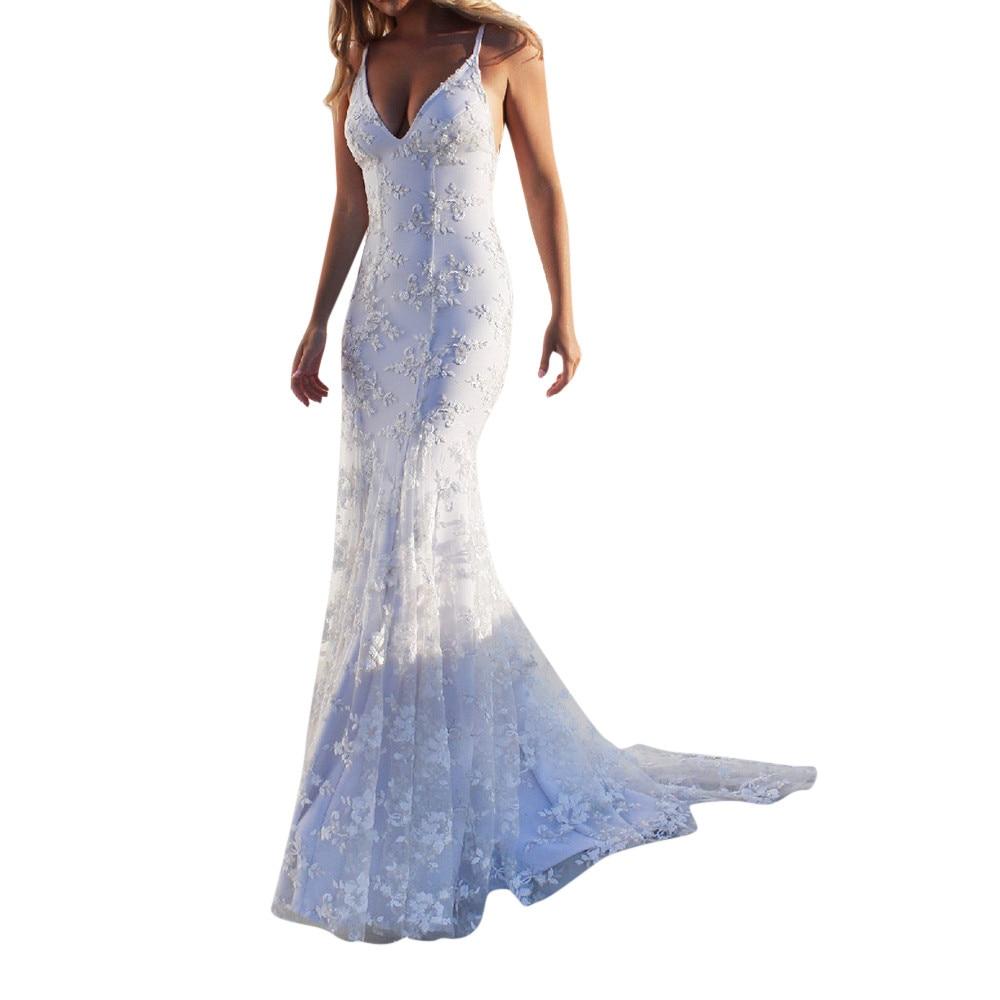 Женское модное кружевное длинное платье с открытой спиной и глубоким v-образным вырезом без рукавов, белое платье, женское платье Hiver, макси ...