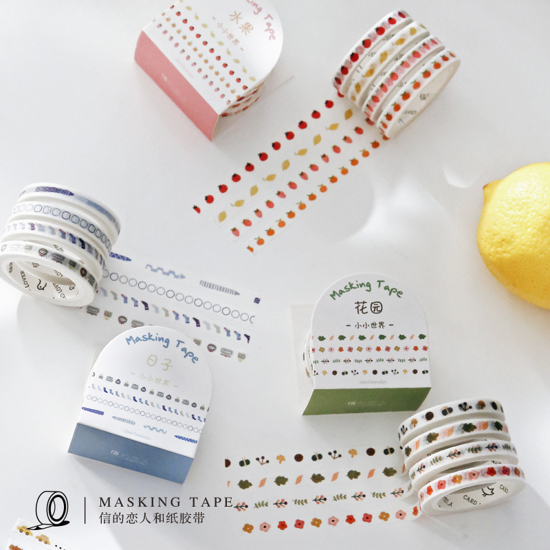 4 Pcs/lot Flowers Fruits Paper Washi Tape Set 5mm Slim Adhesive Decoration Masking Tapes Label Sticker Scrapbooking Stationery
