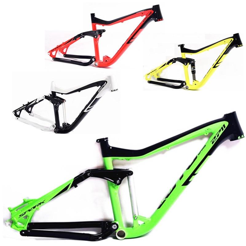 все цены на 2018 Mountain Bike Frame 26/27 5er * 17 iInches Full Suspension Aluminum Frame Bicycle Frame онлайн