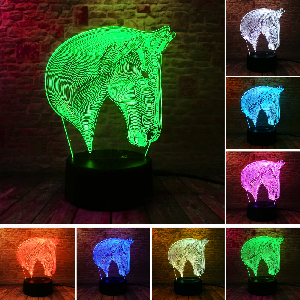 Amroe Creative 3D Horse 7 Colors Changing LED Night Lights Dimming Table USB Touch Bedside Sleeping Party Lamps Decor Toys GiftsAmroe Creative 3D Horse 7 Colors Changing LED Night Lights Dimming Table USB Touch Bedside Sleeping Party Lamps Decor Toys Gifts