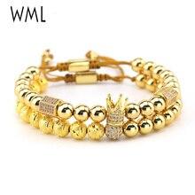 2pcs/set Luxury Brand Gold King Crown men Bracelet CZ ball Charm beads Macrame handmade Bracelets & Bangles for Men Jewelry цена в Москве и Питере