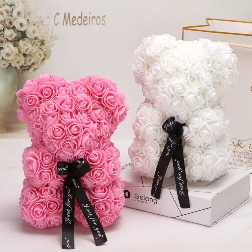 Cadeau de saint valentin chaud 25cm rouge Rose ours en peluche Rose fleur artificielle décoration cadeaux de noël femmes saint valentin cadeau