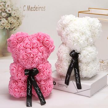 Gorący prezent walentynkowy 25cm czerwona róża miś róża kwiat sztuczna dekoracja świąteczne prezenty kobiety walentynki prezent tanie i dobre opinie SZVVI B-289 Sztuczne Kwiaty Kwiat Głowy