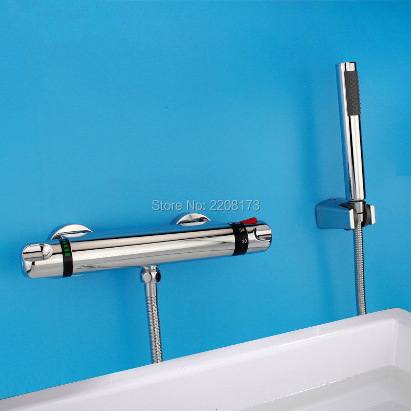 2016 Promotions Thermostatic Bathroom Bathtub Chrome Brass Wall Mounted Mixer Faucet Tap Set Bathroom Faucet thermostatic bathroom shower faucet solid brass bathtub mixer tap chrome finish wall mounted