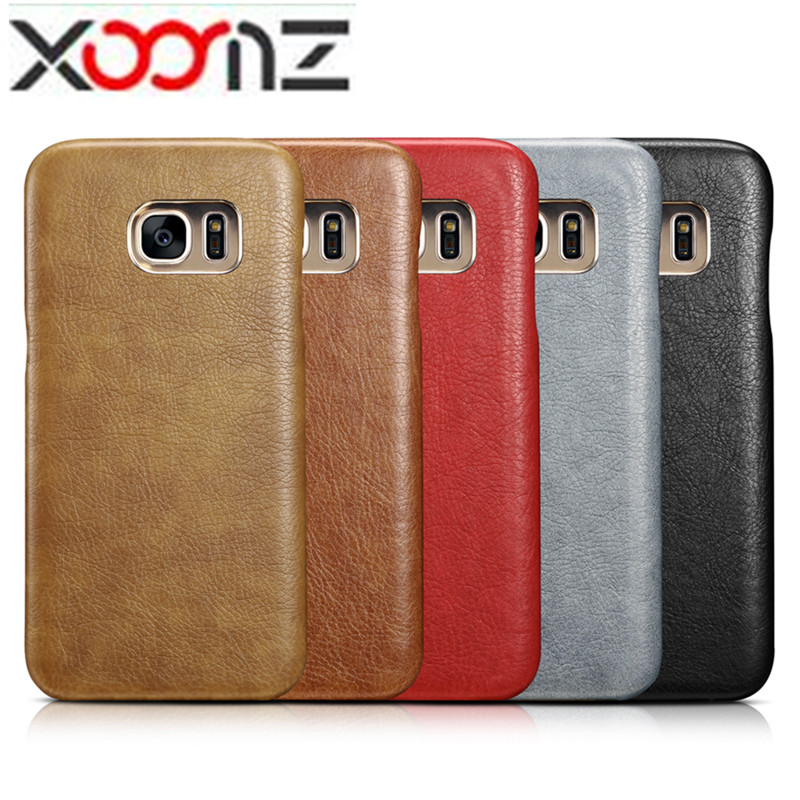 Original XOOMZ For Samsung Galaxy S7 Edge <font><b>Phone</b></font> Cases Vintage PU Leather <font><b>Gold</b></font> Plated Slim Back Case Cover For Samsung Galaxy S7