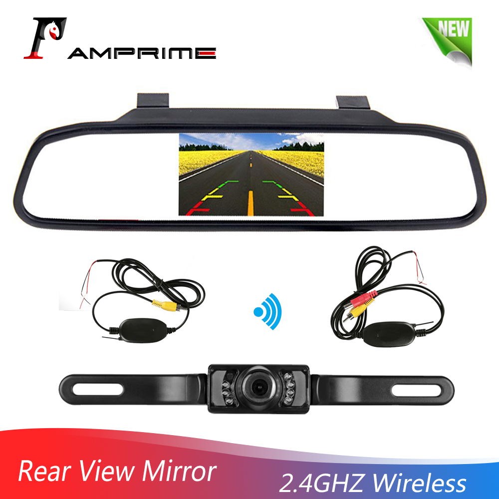 AMPrime Wireless Reverse Car Rear View Camera HD Video Parking LED Night Vision CCD Waterproof + 4.3TFT Rearview Mirror Monitor