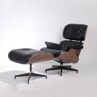 Современная Классическая орех фанеры кресло и оттоманка с черным Премиум High Класс Кожа шезлонг для отдыха вращающееся кресло