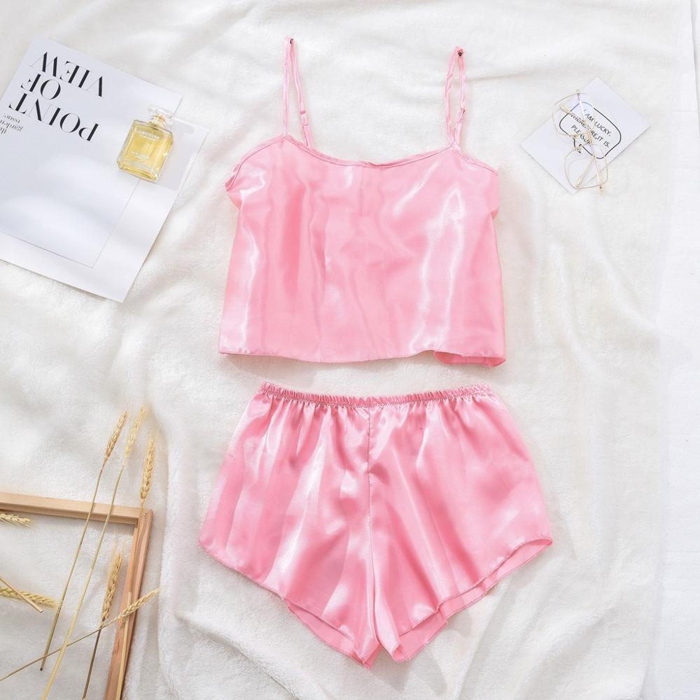S-XL Size Women's Sleepwear Sexy Satin Sleepwear Set Solid Slash Neck Pyjamas Sleeveless Cute Cami Top and Short pijama mujer