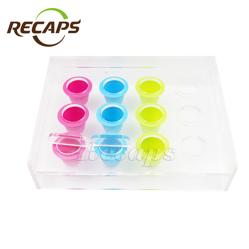 12 capsules Nespresso Coffee Capsule Acrylic Filling Tool box refilling device holder for Disposable Nespresso Coffee Capsules