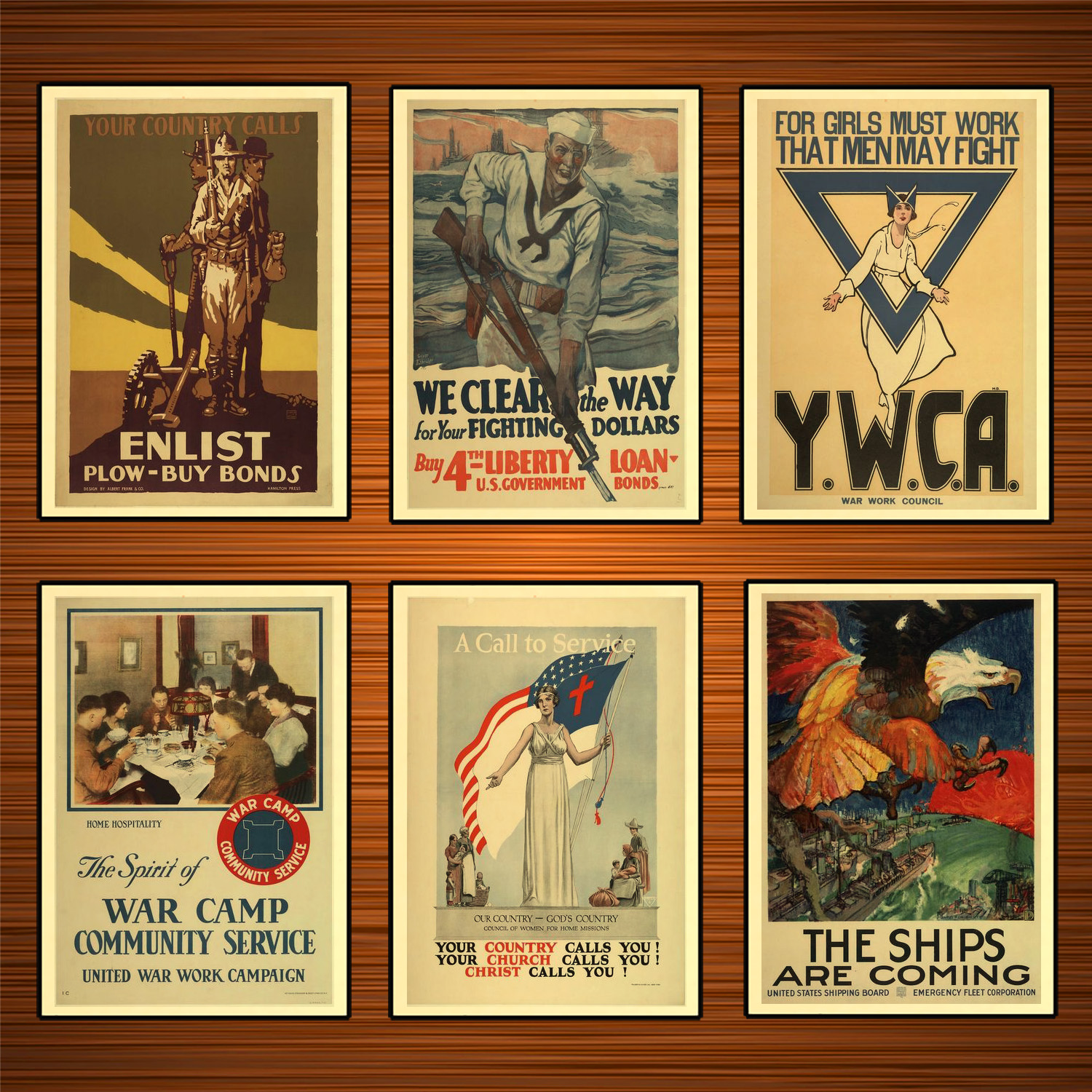 Vintage 1910s USA WW1 Propaganda Poster The Ships Are Coming Classic Canvas Paintings Wall Stickers Home Decor Gift image