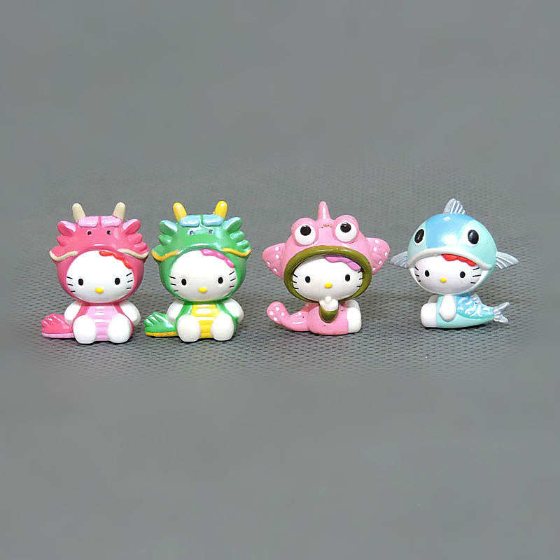 Image 3 - 100pcs/lot 1.5 2.5cm Mini Hello Kitty Action Figures Plastic PVC Christmas Toy Kids Home Cake Decor Collectible Toys S4272Action & Toy Figures   -
