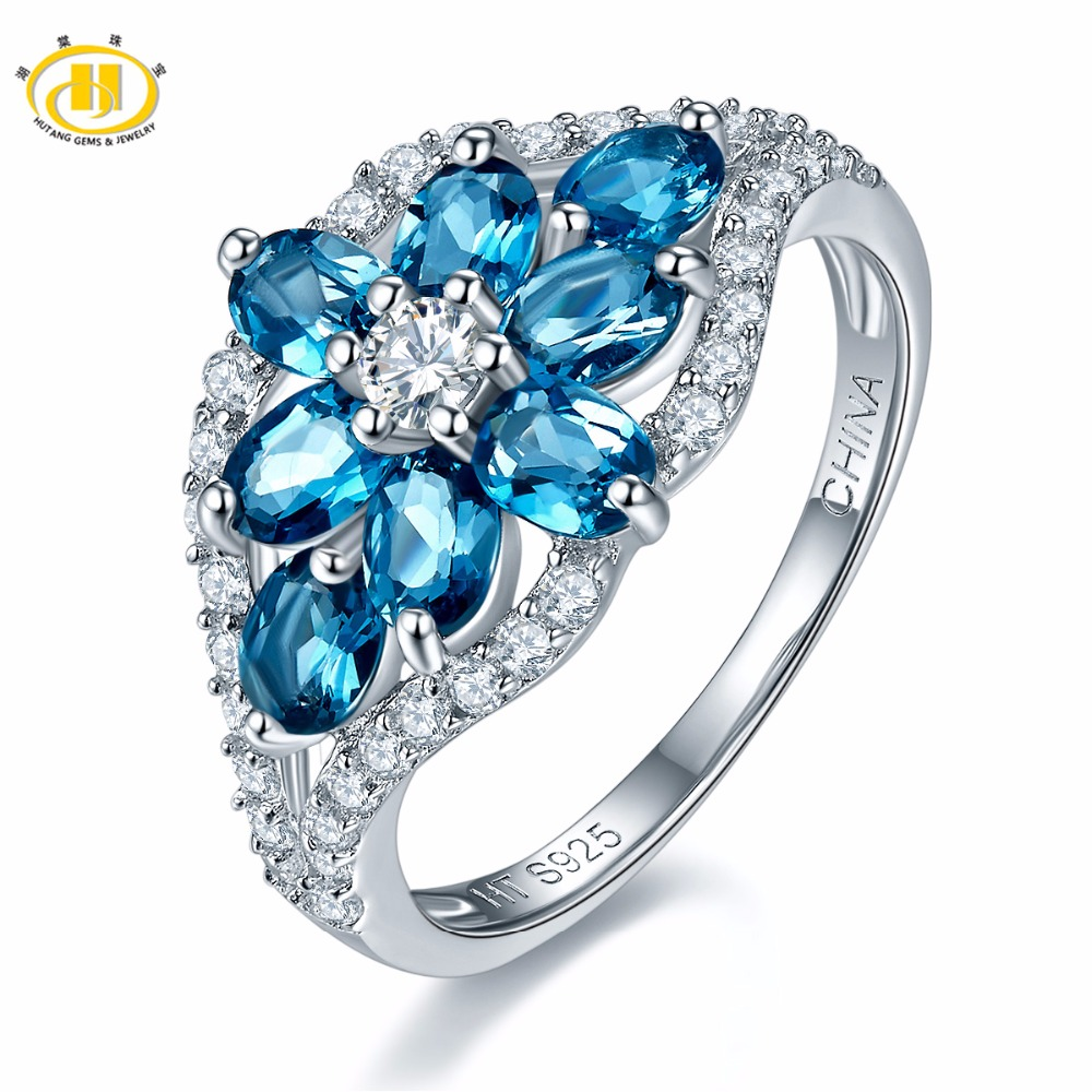 Hutang Stone Jewelry Natural Gemstone London Blue Topaz Solid 925 Sterling Silver Flower Ring Fine Jewelry
