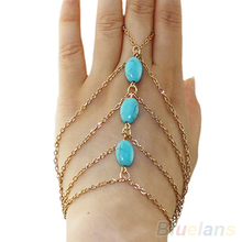 2 types ankle bracelet and Bracelet Bangle Slave Chain Link Finger  Hand Harness Turquoise Anklets Chain 1G8P