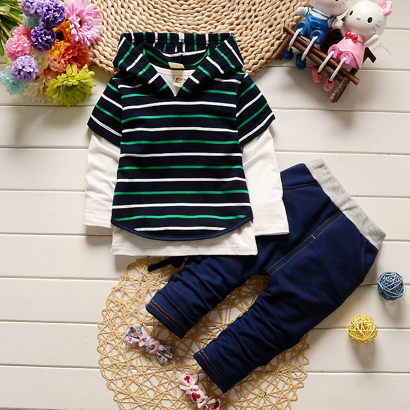 2pcs 2017 Fall Striped Fashion Clothes + Jeans Sport Newborns Individuals Baby Warm Hooded 2-Piece Boy Set 2pcs set baby clothes set boy